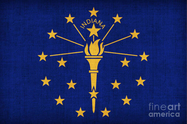1776 Painting - Indiana State Flag by Pixel Chimp