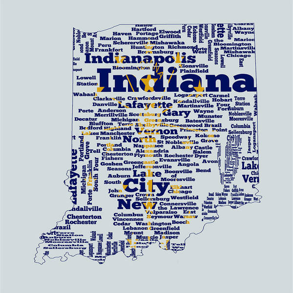Crossroads Of The World Digital Art - Indiana State Flag Word Cloud by Brian Reaves