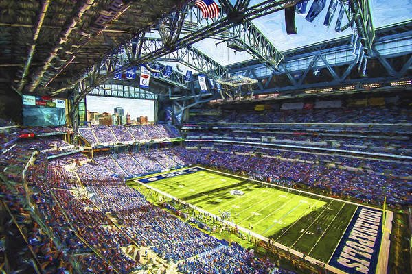 Photograph - Indianapolis Colts Lucas Oil Stadium Painted Digitally by David Haskett II