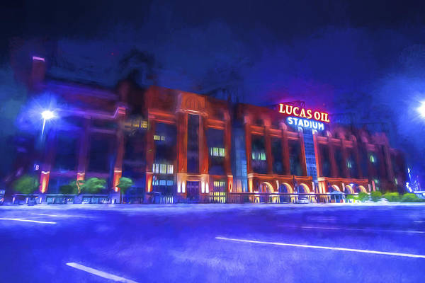 Photograph - Indianapolis Colts Lucas Oil Stadium Painted Digitally Night Lights by David Haskett II