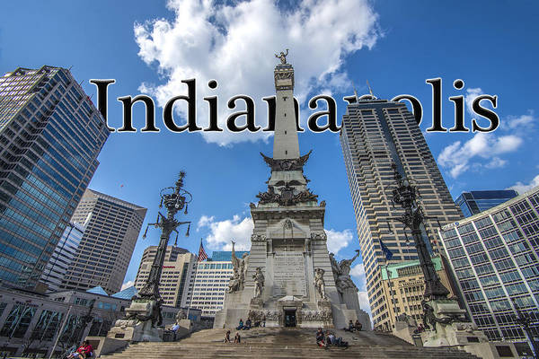 Photograph - Indianapolis Indiana Monument Circle Name by David Haskett II