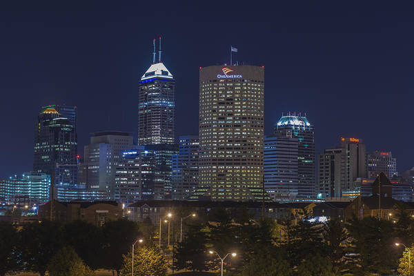 Photograph - Indianapolis Indiana Night Skyline Blue by David Haskett II