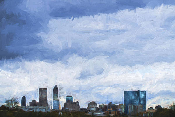 Photograph - Indianapolis Indiana Painted Digitally Blue 2 by David Haskett II
