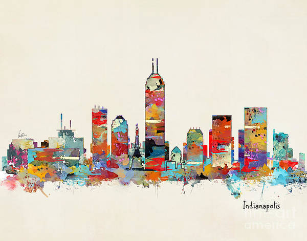 Skyline Wall Art - Painting - Indianapolis Indiana Skyline by Bri Buckley