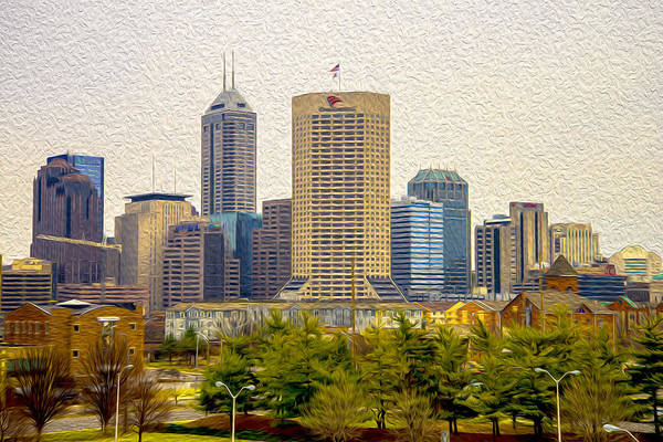 Photograph - Indianapolis Indiana Skyline Digitally Painted by David Haskett II