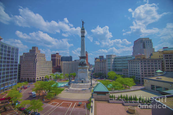 Indianapolis Monument Circle Oil Art Print