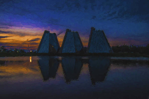 Photograph - Indianapolis Pyramids Sunset Painted Digitally by David Haskett II
