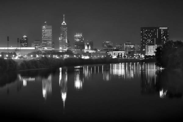 Wall Art - Photograph - Indianapolis Skyline At Night Indy Downtown Black And White Bw Panorama by Jon Holiday
