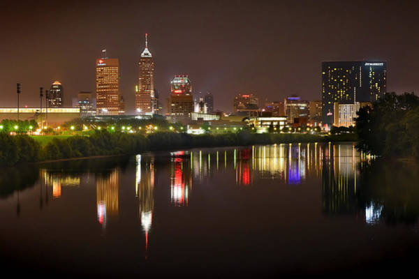 Wall Art - Photograph - Indianapolis Skyline At Night Indy Downtown Color Panorama by Jon Holiday