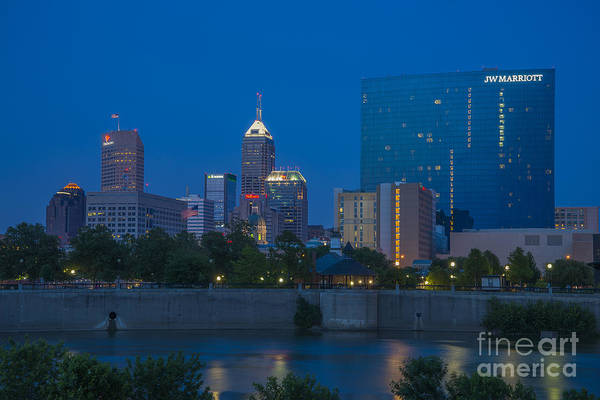 Photograph - Indianapolis Skyline Dusk May 2013 by David Haskett II