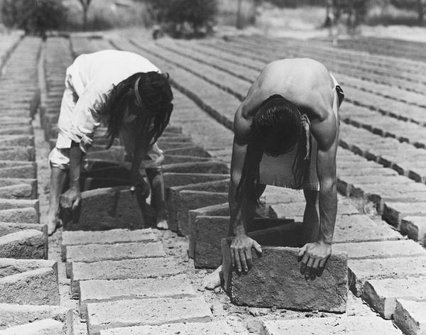 Photograph - Indians Making Adobe Bricks by Underwood Archives Onia