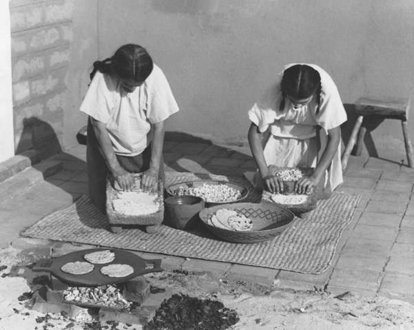 Tribal Woman Wall Art - Photograph - Indians Making Tortillas by Underwood Archives