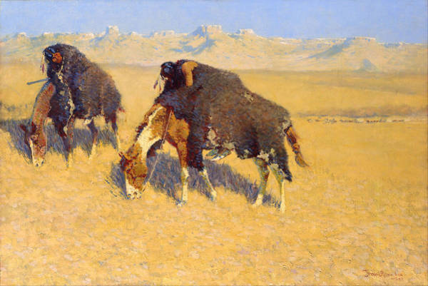 Prairie Digital Art - Indians Simulating Buffalo by Frederic Remington