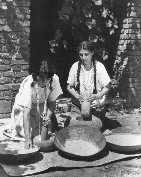 Photograph - Indians Using Mortar And Pestle by Underwood Archives Onia