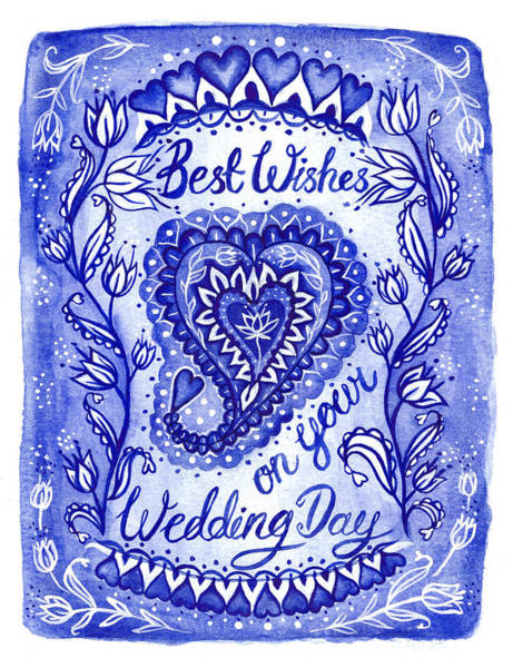 Wall Art - Painting - Indigo Blue Collection Best Wishes Wedding by MGL Meiklejohn Graphics Licensing