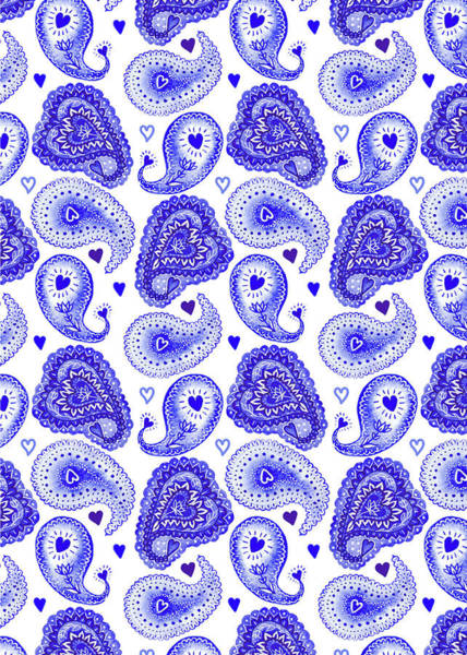 Wall Art - Painting - Indigo Blue Collection Best Wishes Wedding Paisley Hearts by MGL Meiklejohn Graphics Licensing