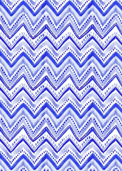 Wall Art - Painting - Indigo Blue Collection Painted Chevron Stripe by MGL Meiklejohn Graphics Licensing