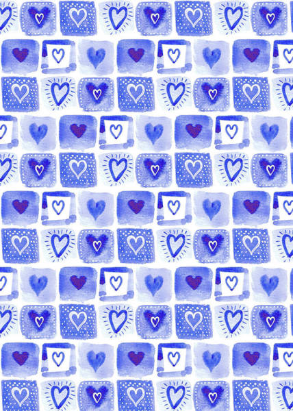 Wall Art - Painting - Indigo Blue Collection Patchwork Heart Tiles by MGL Meiklejohn Graphics Licensing