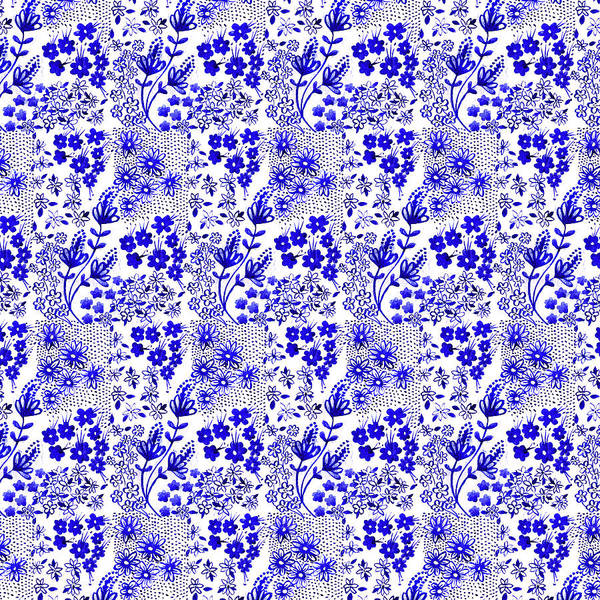 Wall Art - Painting - Indigo Blue Watercolour Ditsy Floral Block Tile Print by MGL Meiklejohn Graphics Licensing
