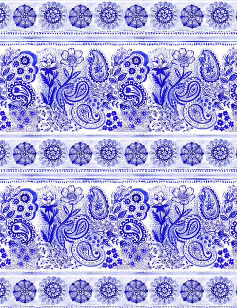 Wall Art - Painting - Indigo Blue Watercolour Main Design Paisley And Mandala Border by MGL Meiklejohn Graphics Licensing