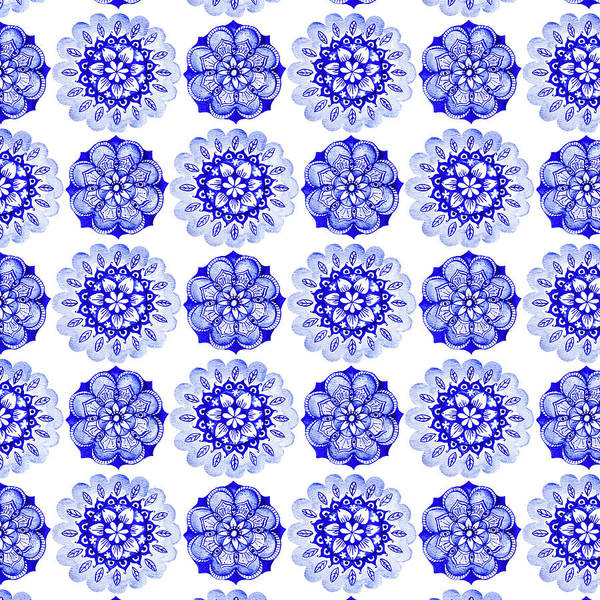 Wall Art - Painting - Indigo Blue Watercolour Mandala Tile Repeat by MGL Meiklejohn Graphics Licensing