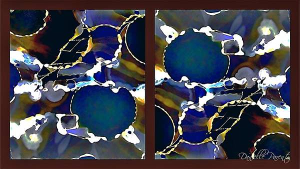 Painting - Indigo Blue Yellow Acajou Bubbles Alcohol Inks Abstract by Danielle  Parent