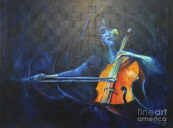 Cellist Painting - Indigo Mood by Timothy Orikri