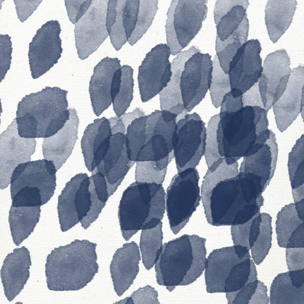 Indigo Rain- Abstract Blue And White Painting Art Print