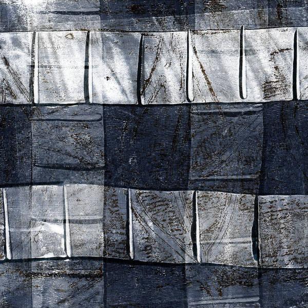 Grey Mixed Media - Indigo Squares 1 Of 5 by Carol Leigh