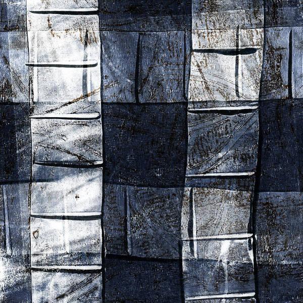 Grey Mixed Media - Indigo Squares 2 Of 5 by Carol Leigh