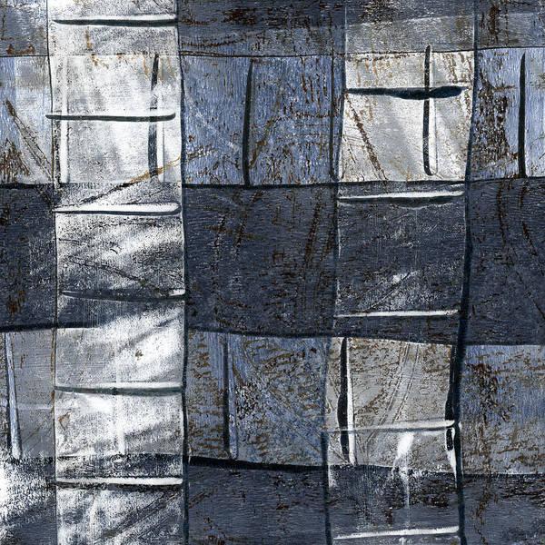 Grey Mixed Media - Indigo Squares 3 Of 5 by Carol Leigh