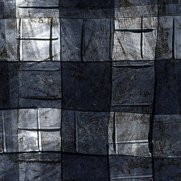 Grey Mixed Media - Indigo Squares 4 Of 5 by Carol Leigh