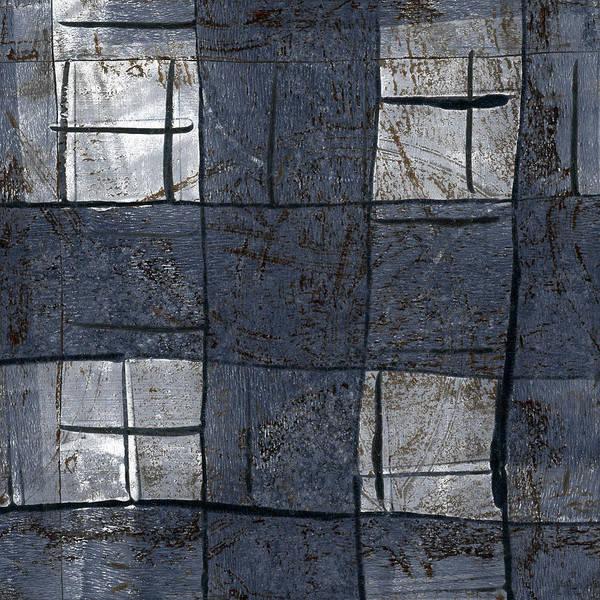 Grey Mixed Media - Indigo Squares 5 Of 5 by Carol Leigh