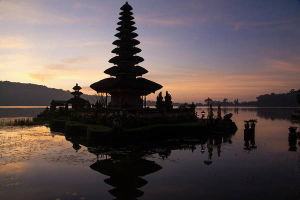 Bratan Photograph - Indonesia, Bali Sunrise At Bali Water by Emily Wilson