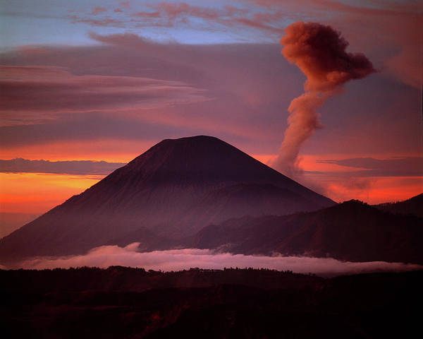 Mountain Landscape Photograph - Indonesia Mt Semeru Emits A Plume by Jaynes Gallery