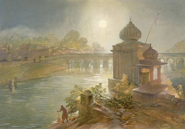 Riverbank Drawing - Indore, From India Ancient And Modern by William 'Crimea' Simpson