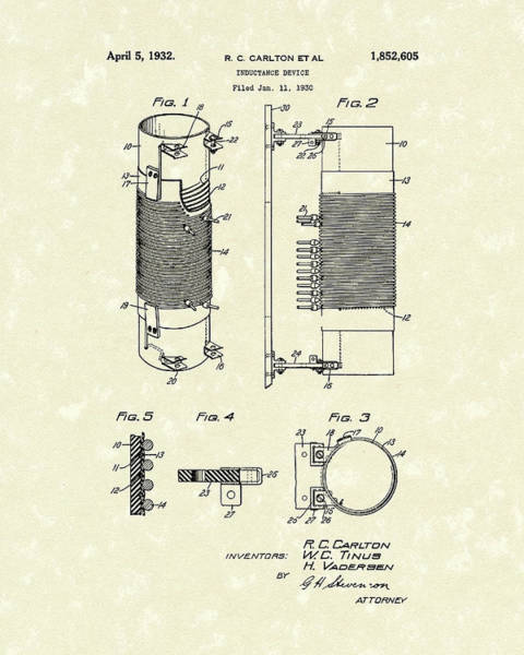 1932 Wall Art - Drawing - Inductor 1932 Patent Art by Prior Art Design