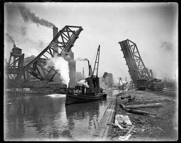 Steam Boat Photograph - Industrial Maritime Steam-age Chicago  C. 1890 by Daniel Hagerman