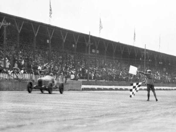 Checker Photograph - Indy 500 Victory by Underwood Archives