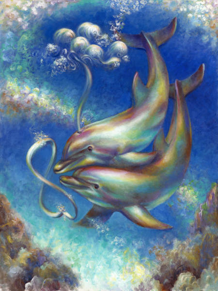 Wall Art - Painting - Infinity- Bottlenose Dolphins At Play by Nancy Tilles