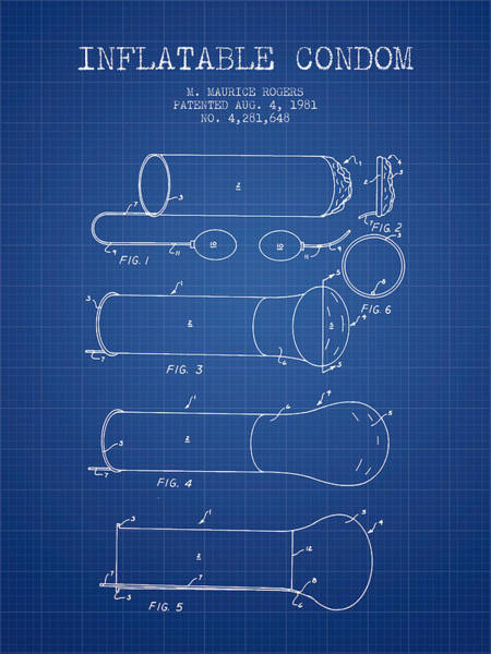 Birth Digital Art - Inflatable Condom Patent From 1981 - Blueprint by Aged Pixel