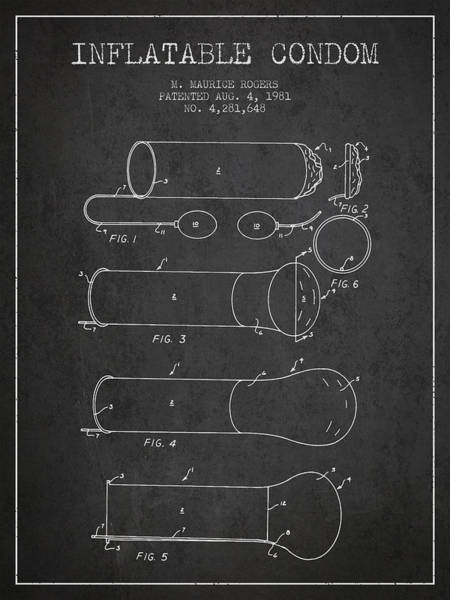Pregnancy Digital Art - Inflatable Condom Patent From 1981 - Charcoal by Aged Pixel