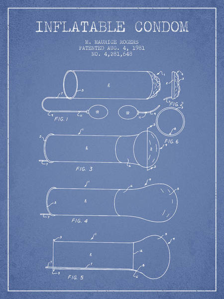 Birth Digital Art - Inflatable Condom Patent From 1981 - Light Blue by Aged Pixel