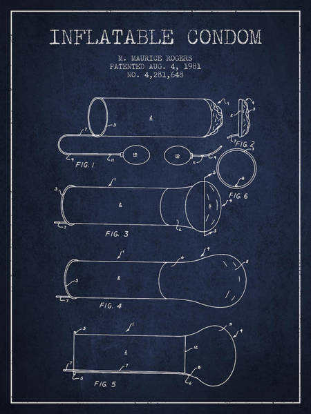 Pregnancy Digital Art - Inflatable Condom Patent From 1981 - Navy Blue by Aged Pixel