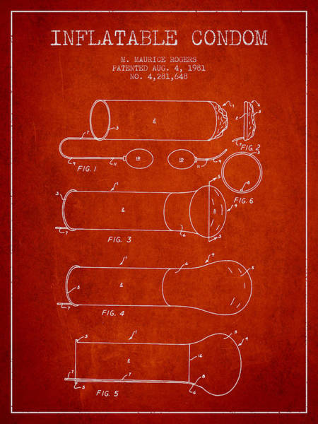 Pregnancy Digital Art - Inflatable Condom Patent From 1981 - Red by Aged Pixel