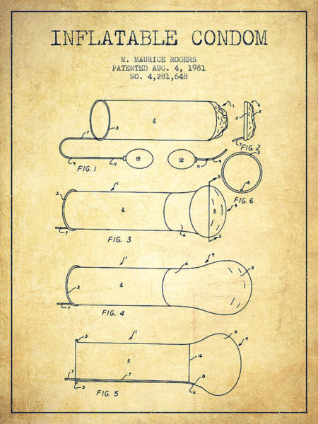 Pregnancy Digital Art - Inflatable Condom Patent From 1981 - Vintage by Aged Pixel