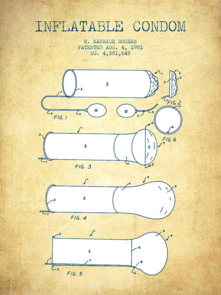 Pregnancy Digital Art - Inflatable Condom Patent From 1981 - Vintage Paper by Aged Pixel