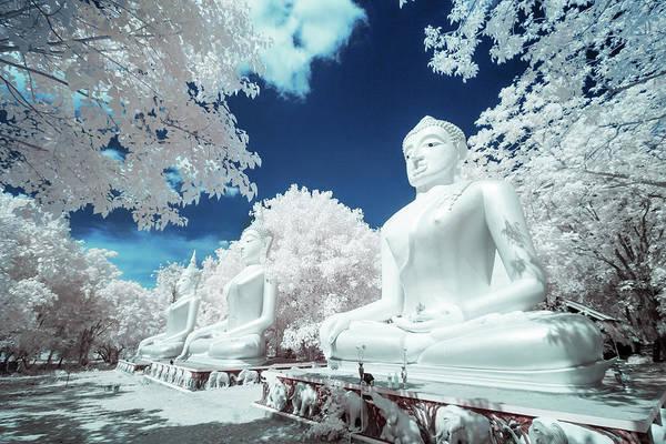 Statue Photograph - Infrared Photo Buddha Statue by Monthon Wa