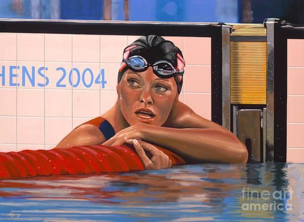 Swimming Painting - Inge De Bruijn by Paul Meijering
