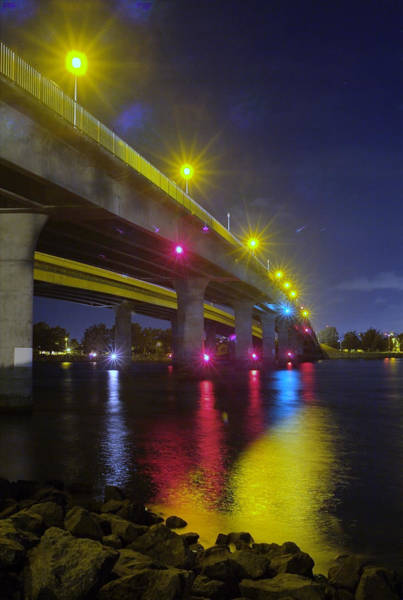 Photograph - Ingraham Street Bridge At Night by Wesley Elsberry